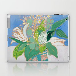 Lily and Eucalyptus Bouquet in Blue and Peach Floral Vase Laptop & iPad Skin