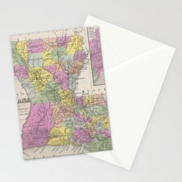 Vintage Map of Louisiana (1853) Stationery Cards