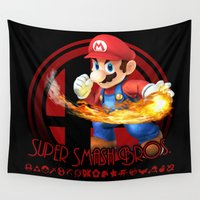 super smash bros Wall Tapestries featuring Mario - Super Smash Bros. by Donkey Inferno