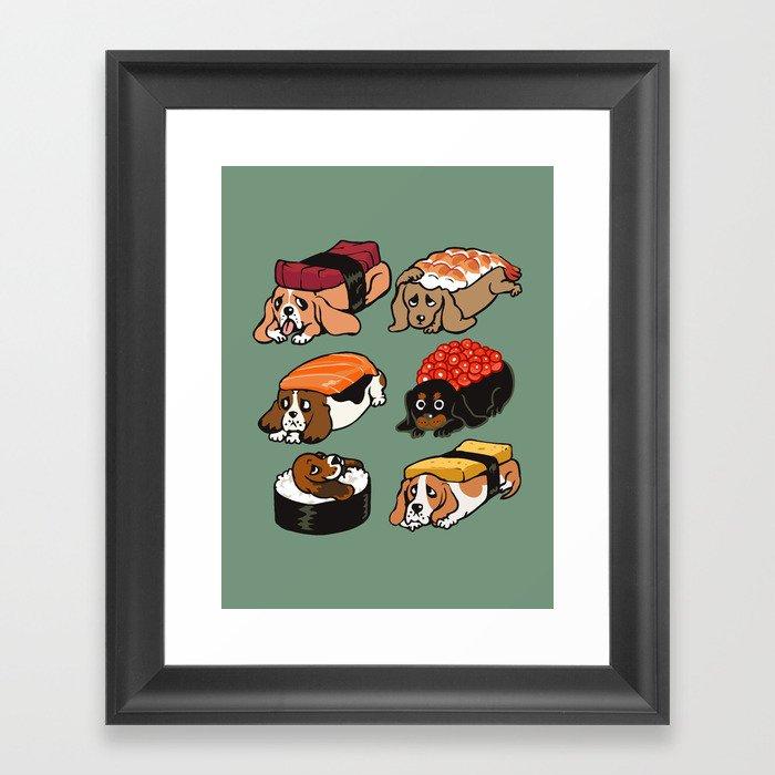 Sushi  Basset Hound Gerahmter Kunstdruck