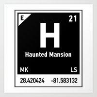 haunted mansion Art Prints featuring elements of H (Haunted Mansion) by designoMatt