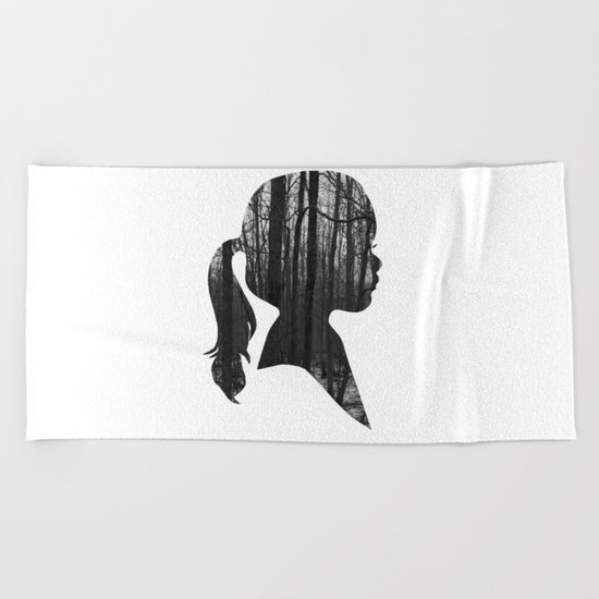 Forest girl Beach Towel