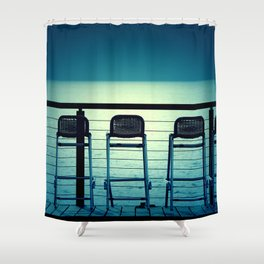 Blue Bar Stools Shower Curtain