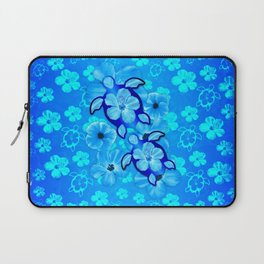 Tropical Hibiscus Flowers And Honu Turtles Laptop Sleeve