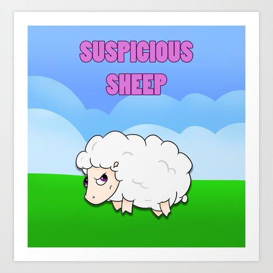 Suspicious Sheep Art Print