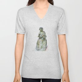 The Leics Seamstress Statue Unisex V-Neck