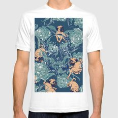 Climbing Pug & Floral MEDIUM Mens Fitted Tee White