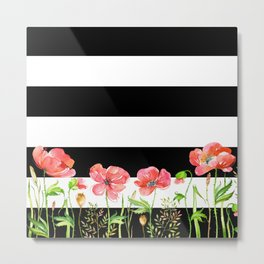 Poppies and Stripes Metal Print