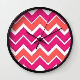 Big Chevron:  Fuchsia + Coral Wall Clock