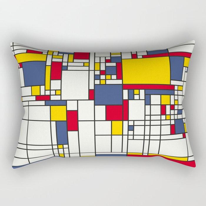 World Map Abstract Mondrian Style Rectangular Pillow