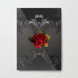 Gothic Glamour Red Rose Black Ornamental Glam Metal Print