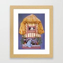 White rabbits house Framed Art Print