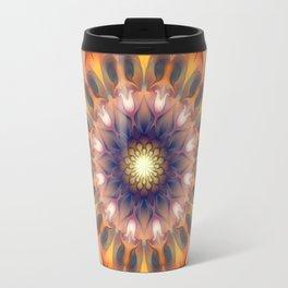 Flower 0009 Orange + Blue  Travel Mug