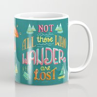 baloon Mugs featuring Not All Those Who Wander ii by becca cahan