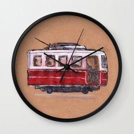 Running Red Old Tram Wall Clock