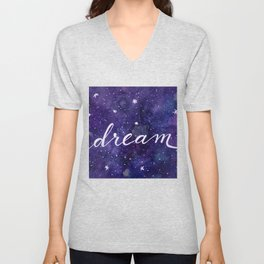 Watercolor galaxy dream - purple Unisex V-Neck