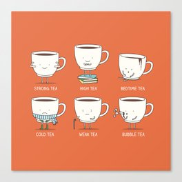 Types of tea Canvas Print