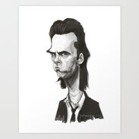 nick cave Art Prints featuring Nick Cave by Martynas Juchnevicius