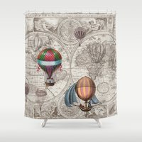 hot air balloons Shower Curtains featuring Hot Air Balloons by Color and Form