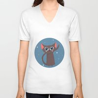 space cat V-neck T-shirts featuring Space cat by Alex Fabri