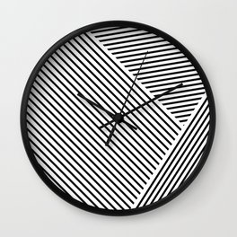 Black and White Lines Hatching Pattern Wall Clock