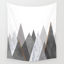 Marble Gray Copper Black and White Mountains Wall Tapestry