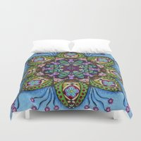 health Duvet Covers featuring Blue Health Mandala - מנדלה בריאות by dotan yiloz