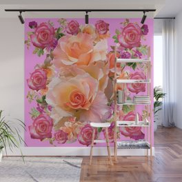 PINK-YELLOW ANTIQUE ROSES VIGNETTE Wall Mural