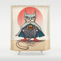 superhero Shower Curtains featuring SUPERHERO CAT by evafialka