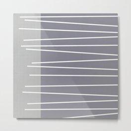 Mid century modern textured gray stripes Metal Print