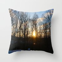 rileigh smirl Throw Pillows featuring Snowy Sunset by Rileigh Smirl