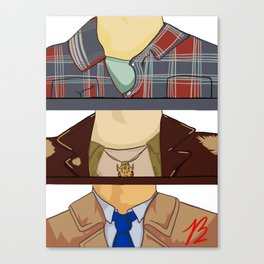 Sam, Dean, and Castiel (Supernatural)(Unofficial) Canvas Print