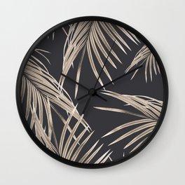 Sepia Palm Leaves Dream #1 #tropical #decor #art #society6 Wall Clock