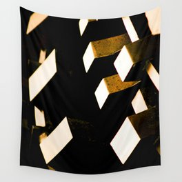Rose Gold Bronze Abstract Geometric Mechanical Gears Wall Tapestry