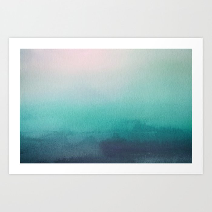 The Texture Of Teal And Turquoise: Abstract Watercolor Blend Teal