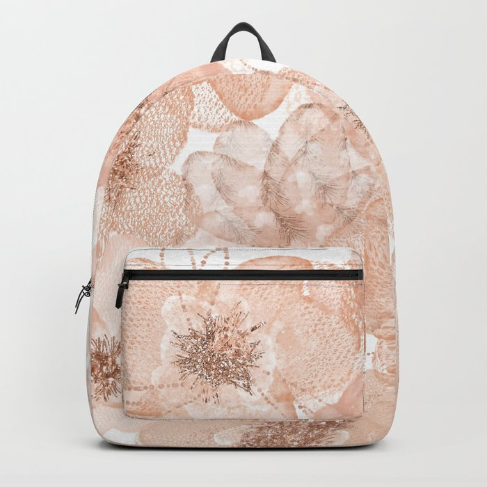 Flowers and Lace- Floral pattern in pink Backpack