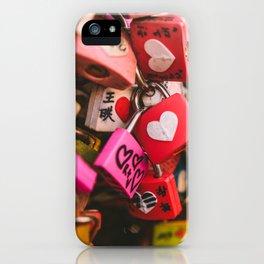 Love locks in Seoul iPhone Case