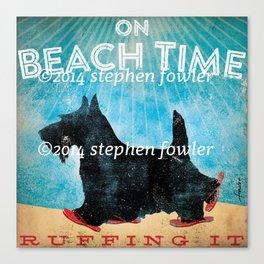 Beach Time Scottie by Stephen Fowler Canvas Print