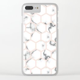 Marble hexagone Clear iPhone Case