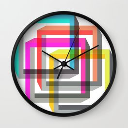 Colorful impossible 3D shapes overlapping. Wall Clock