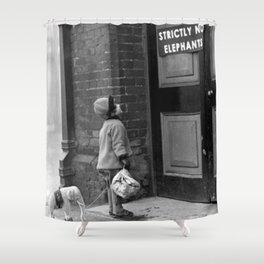 'Strictly No Elephants' vintage humorous child verses the world black and white photograph / black and white photography Shower Curtain