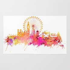 London skyline map city pink Rug