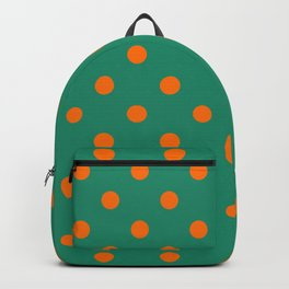 Extra Large Orange on Elf Green Polka Dots Backpack
