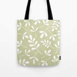 Assorted Leaf Silhouettes White on Lime Tote Bag