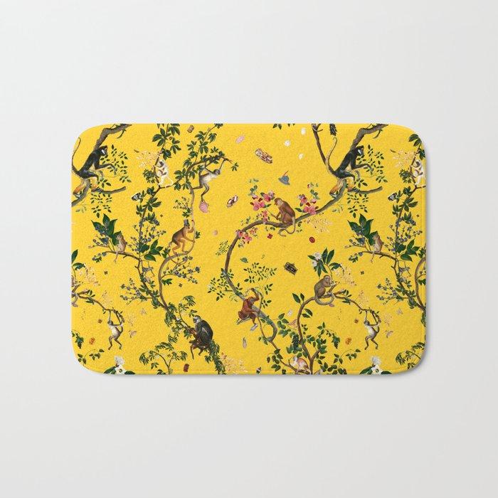 Monkey World Yellow Bath Mat