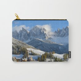 Dolomites village in the snow in winter Carry-All Pouch