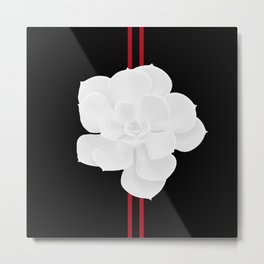 White Succulent On Black #decor #society6 #buyart Metal Print