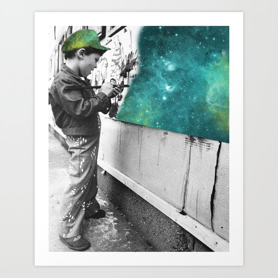 KID PAINTING THE UNIVERSE Art Print