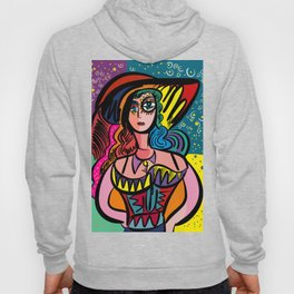 Tarot Girl with Hat French Art Cubism Hoody