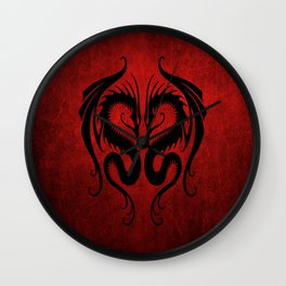 Black and Red Twin Tribal Dragons Wall Clock